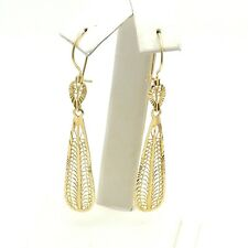 New 14k Gold Filigree Teardrop Long Dangle Drop Earrings Diamond Cut 3gr