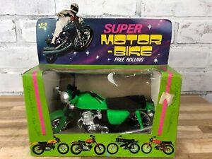 Vintage 1970s Jacky Toys Super Motor Bike Green Motorcycle