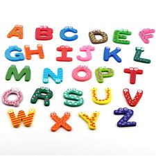 Fridge Wooden Magnet Baby Children Toy A-Z ABC Educational Alphabet 26 Letter S#