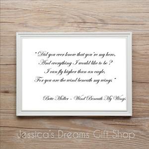 Bette Midler Wind Beneath My Wings Song Lyrics Quote Word Print Memory Keepsake