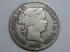 1866 MADRID 40 CENTS DE ESCUDO ISABEL II SPAIN SPANISH SILVER COIN