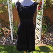 BCBGMaxazria Small Black Tank Dress Pockets Sheer Wrinkle Free Pleated Summer