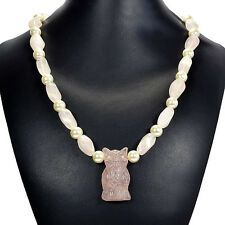 Rose Quartz Owl & Pearl Pendant Necklace Handcrafted Bead Jewellery UK Gift Idea