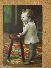 Vintage Postcard: Child/Boy Here's Fine Legs, Furniture, JWB