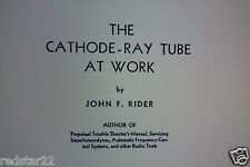 "The Cathode Ray Tube at Work by John F. Rider ""Great Book !! "" On CD"