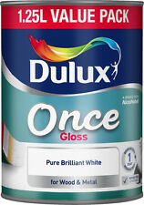 DULUX ONCE HIGH GLOSS 1.25L PURE BRILLIANT WHITE PAINT FOR WOOD AND METAL