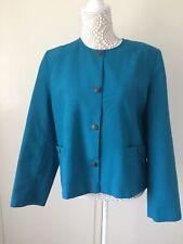 Ladies Teal Single Breasted Collarless Classics Debenhams Lined Jacket - Size 14