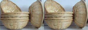 12 Natural Small Woven Bamboo Round Wicker Basket Storage Bread Chip Snack Bowl
