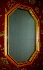 "Unique Elongated Octagon Oak Wood Frame Wall Mirror, 19""W X 27""H"