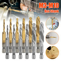 "6/12x M3-M10 1/4"" Hex Shank HSS Titanium Coated Screw Thread Tap Drill Bits Set"