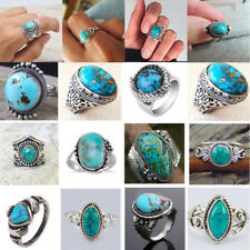 925 Silver Ring Woman Man Turquoise Stone Wedding Engagement Jewelry Size6-10