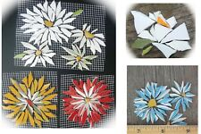 Broken China Mosaic Tiles, Daisy, Rose, Aster Flower SIZE / COLOR Variations 3""