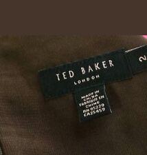 Ted Baker Damas Marrón Verde Seda Floral Vestido de línea Imperio Con Tiras 2 UK Size 10
