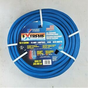 100' 10 Gauge Blue Cold Weather Cord w Lighted Outlet - MADE IN USA