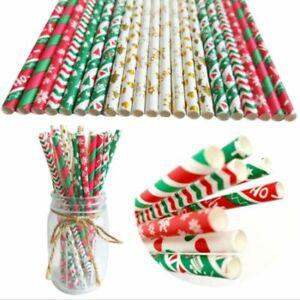 `25pcs Christmas Paper Straws Snowflake Drinking Straw Merry Xmas Decor