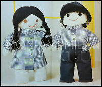 """VINTAGE SEWING PATTERN To Make RAG DOLLS with CLOTHES BOY & GIRL 19"""" SOFT TOYS"""