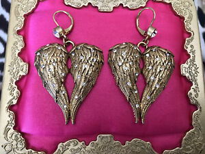 Betsey Johnson Vintage Fly With Me Gold Angel Wing Crystal Heart Earrings RARE