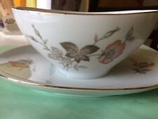 From Bavaria Germany Gold Trim Gravy Boat w/Attached Underplate Euc antique vtg
