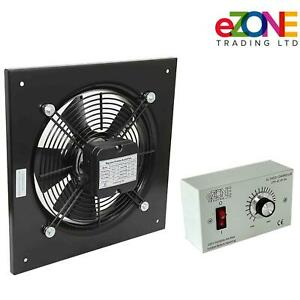 """Industrial Wall Mounted Extractor Fan 10"""" Commercial Ventilation +Speed Control"""
