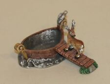Pewter Image Figurine Pin Trinket Dish Deer on Dock to Boat with Bird