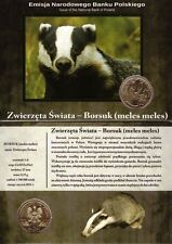 ■■■ Poland 2011 2 Zlote World Animals BADGER Borsuk in Blister UNC ■■■
