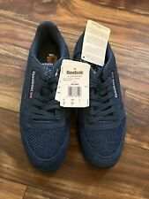 c3a9196b9ffc Reebok Classic Mens Sneakers Shoes Size 8 Leather Knit Trainers Blue Retro  Rare