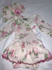 NWT Mad Sky Baby Girls Floral Skirted Romper Dress w/Cap 0-3 Months