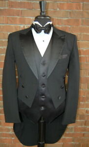 Mens 38 S Classic Black Peak Tails Tuxedo Jacket Full Dress Tail