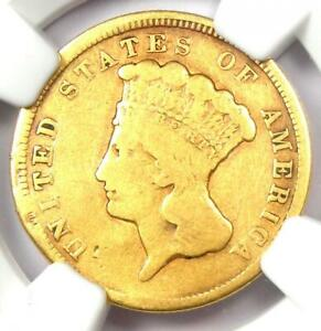 1854 Three Dollar Indian Gold Coin $3 - Certified NGC VG Details - Rare Coin!