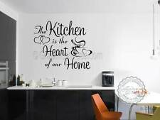 Kitchen Wall Sticker Quote, Kitchen is Heart of Our Home, with Coffee Cup Hearts