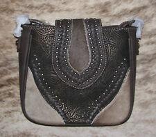 MONTANA WEST Trinity Ranch Tooled Hair-On Partial Leather Crossbody Handbag 8360