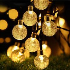 Cadena de luz LED Solar Bola De Cristal Árbol De Navidad Fiesta de jardín Lámpara Hada Bombillas