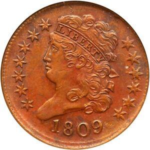 1809 C-6 ANACS AU 55 Classic Head Half Cent Coin 1/2c