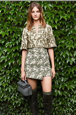 Tory Burch Equestrian Top Runway Lame 2  Tunic Fall $425 Embroidered  XS Paulina