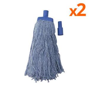 2X BLUE Heavy Duty Mop Head Commercial Mop Refill 450G