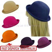 1 Ladies Kid Wool Felt Charlie Chaplin Bob Derby Bowler Cloche Round Domed Hat