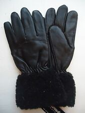 Ladies Fur Cuffed Thinsulate Insulated,Genuine Leather Gloves, M,Black