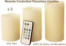 Colour Changing Remote Control Candles 3 x Wax Flameless Battery Flicker Candle