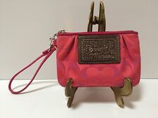 "Coach Poppy Wristlet Signature ""C"" Pink Fushia Jacquard Patent Piping Authentic"