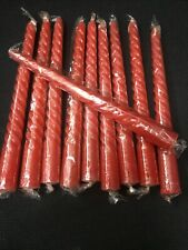 "10pc RED TWISTED CANDLES 8"" SCENTED WAX TAPER WEDDING DINNER CHURCH CHRISTMAS"