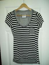 Designer MNY By Andrew Marc Size M Black & White Striped Ladies Top