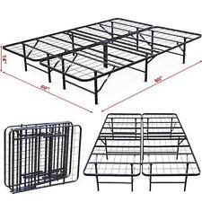 Platform Bed Frame Steel Heavy Duty Queen Size Foldable Bedroom Storage