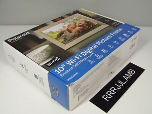 """Polaroid 10"""" WiFi DIGITAL PICTURE FRAME Brushed Gold Metal PDWX-1050G NEW IN BOX"""