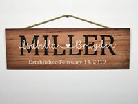 """Personalized Family Name  Rustic Wood Sign, P145, Gift, Birthday, 6""""x18"""""""