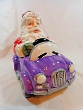 "SANTA CLAUS COOKIE JAR 11"" Purple Convertible Car DesignPac Ceramic Christmas"