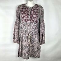 Antik Batik by Christophe Sauvat Floral Dress Medium Wool L/S silver Patch Boho