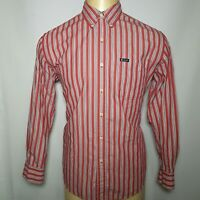 Chaps Medium M Red White Striped Men's  Easy Care Long Sleeve Button Down Shirt