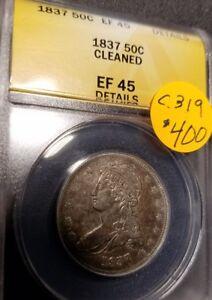 1837 Certified Liberty Cap Half Dollar, EF45, C319