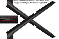 RED STITCH 2X DOOR SILL SKIN COVERS FITS FORD ESCORT MK3 MK4 XR3I RS TURBO