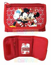 New Disney Mickey Mouse & Minnie Mouse Red Tri-Fold Mini Wallet Purse for Kids